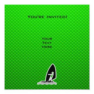 "Green Windsurfing 5.25"" Square Invitation Card"