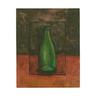 Green Wine Bottle Wood Wall Art
