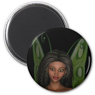 Green Wing Lady Faerie 1 - 3D Fairy - 6 Cm Round Magnet