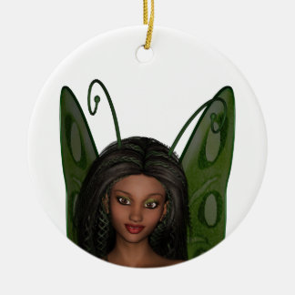 Green Wing Lady Faerie 1 - 3D Fairy - Double-Sided Ceramic Round Christmas Ornament