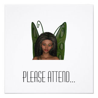 Green Wing Lady Faerie 1 - 3D Fairy - 5.25x5.25 Square Paper Invitation Card