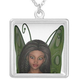 Green Wing Lady Faerie 1 - 3D Fairy - Square Pendant Necklace