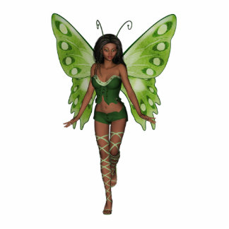 Green Wing Lady Faerie 2 - 3D Fairy - Photo Cutout