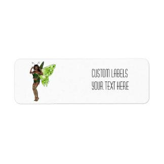 Green Wing Lady Faerie 3 - 3D Fairy - Return Address Label