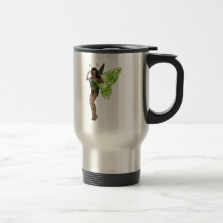 Green Wing Lady Faerie 3 - 3D Fairy - Stainless Steel Travel Mug