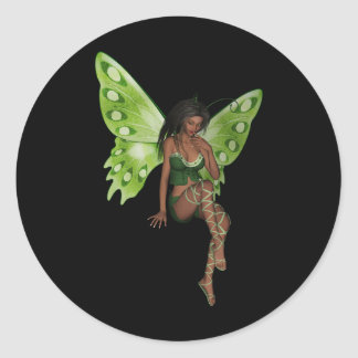 Green Wing Lady Faerie 6 - 3D Fairy - Round Sticker