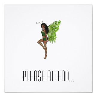 Green Wing Lady Faerie 7 - 3D Fairy - 13 Cm X 13 Cm Square Invitation Card