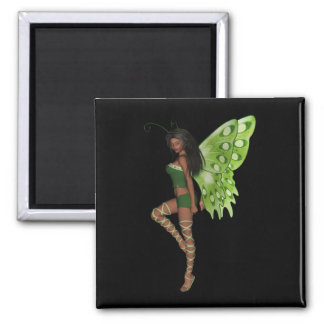 Green Wing Lady Faerie 7 - 3D Fairy - Square Magnet