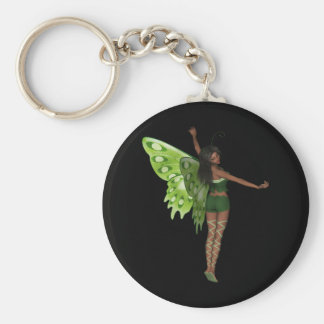 Green Wing Lady Faerie 8 - 3D Fairy - Basic Round Button Key Ring
