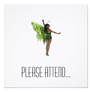 Green Wing Lady Faerie 8 - 3D Fairy - 5.25x5.25 Square Paper Invitation Card