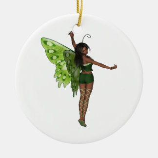 Green Wing Lady Faerie 8 - 3D Fairy - Round Ceramic Decoration