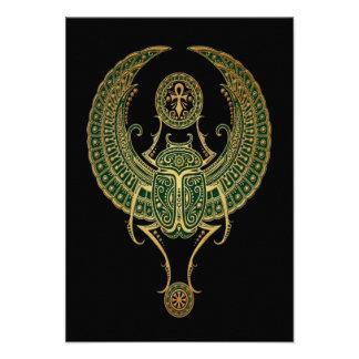 Green Winged Egyptian Scarab Beetle Black Custom Invites