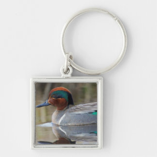 Green-winged Teal Silver-Colored Square Key Ring