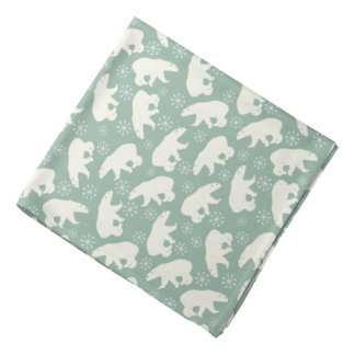 Green Winter Bandanna  with Polar Bears