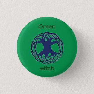 Green witch 3 cm round badge