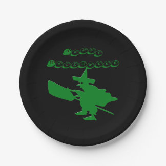 Green Witch Happy Halloween 7 Inch Paper Plate