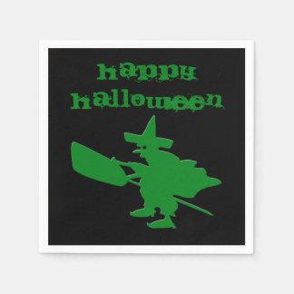 Green Witch Happy Halloween Disposable Serviette