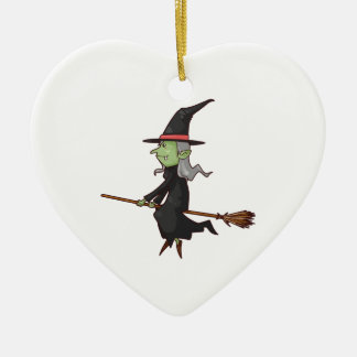 Green Witch with Gray Hair Flying on Broomstick Christmas Ornament
