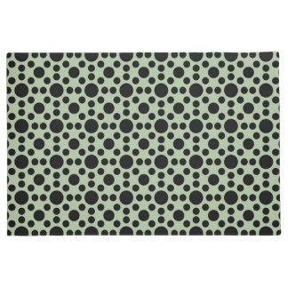 Green with black polka dots pattern doormat