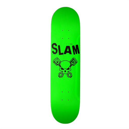 Green with Black Slam Skateboard Deck