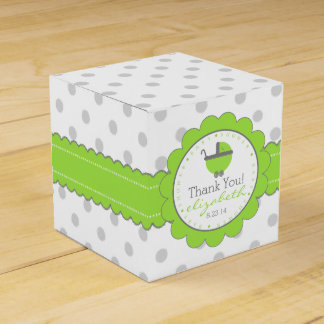 Green with Grey Polka Dots Baby Shower Favour Box