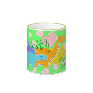 Green With Love Dinosaurs Hearts Pattern Mug