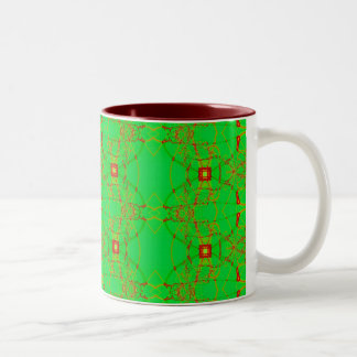 green with red lace Two-Tone coffee mug