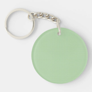 Green With Simple White Dots Acrylic Keychain
