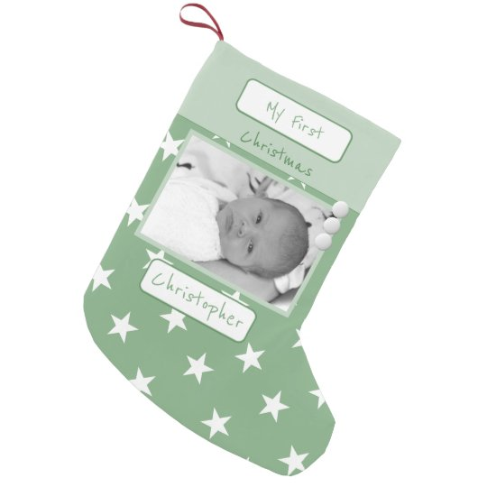 Green with stars My First Christmas photo Small Christmas Stocking
