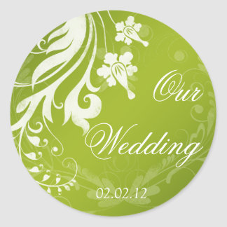 Green with White Floral Wedding Envelope Seal Round Sticker