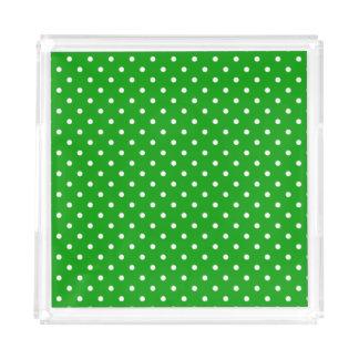 Green with White Polka Dots Acrylic Tray