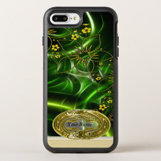 Green with yellow daisies with a gold emblem OtterBox symmetry iPhone 8 plus/7 plus case