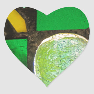 Green, with yellow stained glass heart sticker