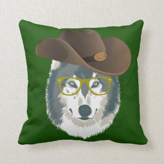 Green Wolf with Spectacles Throw Pillow