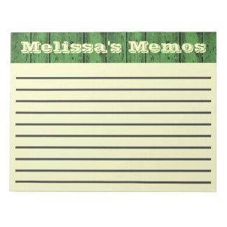 Green Wood Planks Large Memo Pad