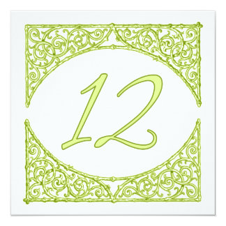 Green Wood Screen Table Number 12 13 Cm X 13 Cm Square Invitation Card