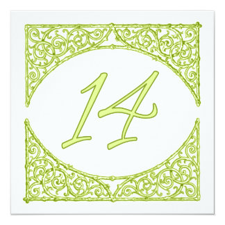 Green Wood Screen Table Number 14 13 Cm X 13 Cm Square Invitation Card