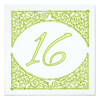 Green Wood Screen Table Number 16 13 Cm X 13 Cm Square Invitation Card