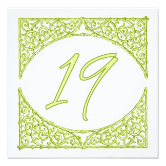 Green Wood Screen Table Number 19 13 Cm X 13 Cm Square Invitation Card