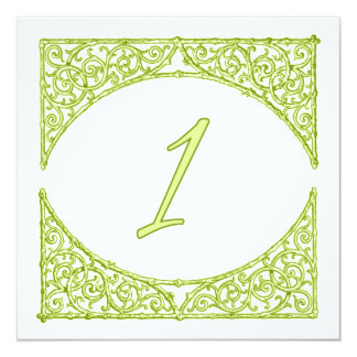 Green Wood Screen Table Number 1 13 Cm X 13 Cm Square Invitation Card