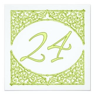 Green Wood Screen Table Number 24 13 Cm X 13 Cm Square Invitation Card