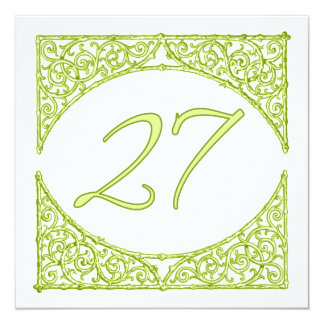 Green Wood Screen Table Number 27 13 Cm X 13 Cm Square Invitation Card