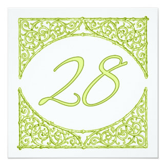 Green Wood Screen Table Number 28 13 Cm X 13 Cm Square Invitation Card