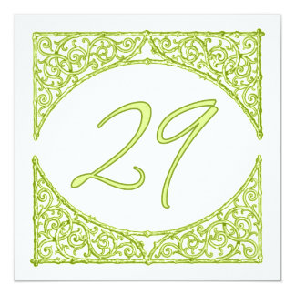 Green Wood Screen Table Number 29 13 Cm X 13 Cm Square Invitation Card
