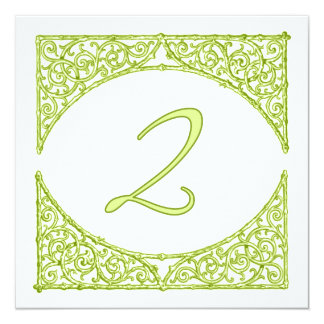 Green Wood Screen Table Number 2 13 Cm X 13 Cm Square Invitation Card