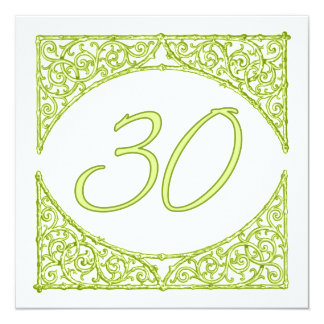 Green Wood Screen Table Number 30 13 Cm X 13 Cm Square Invitation Card