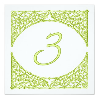 Green Wood Screen Table Number 3 13 Cm X 13 Cm Square Invitation Card
