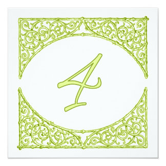 Green Wood Screen Table Number 4 Personalized Invite