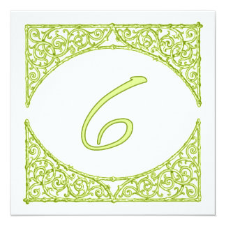 Green Wood Screen Table Number 6 13 Cm X 13 Cm Square Invitation Card