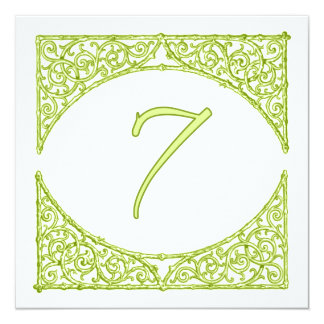 Green Wood Screen Table Number 7 13 Cm X 13 Cm Square Invitation Card